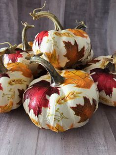 "Napkin Decoupage Fall Leaf Pumpkins with Mod Podge. By Cathie and Steve In our latest, ""Make it with Mod Podge Live"" we are getting crafty with faux or fake pumpkins. Fake Pumpkins, Fabric Pumpkins, White Pumpkins, Velvet Pumpkins, Painted Pumpkins, Autumn Decorating, Pumpkin Decorating, Thanksgiving Crafts, Fall Crafts"
