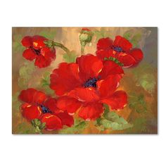 This ready to hang, gallery-wrapped art piece features red poppies. Masters Fine Art is a company that travels around the world to bring the best in fine art from outstanding artists from different la