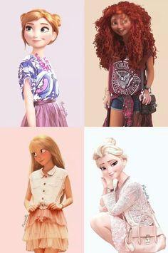 More modern day Disney and Dreamworks icons  -Elsa,Merida,Rapuzen and Anna-