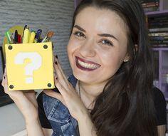 DIY - Decoração Games | Mural Pac-Man, porta-treco Super Mario e almofadas Tetris! - Casinha Arrumada