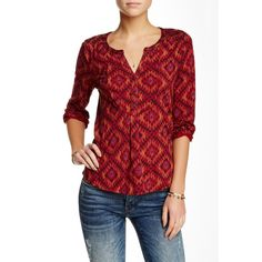 Lucky Brand Ikat Diamond Peasant Tee ($30) ❤ liked on Polyvore featuring tops, t-shirts, red multi, red peasant top, diamond t shirt, lucky brand tee, embroidered peasant top and embroidery t shirts