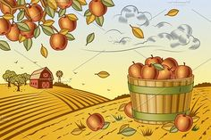 Apple Harvest Landscape by Retro Graphics on @creativemarket