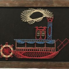 VTG MCM String Nail Art Wood Framed Steamboat Handmade 13X10.5 Ready To Hang