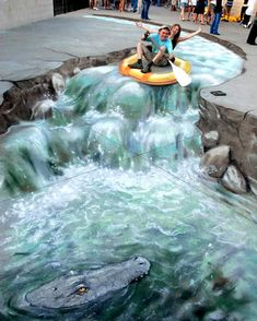 Crazy river. Just hold on and here we go… Julian Beever