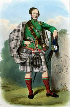 """File: Macpherson (R. R. McIan).jpg   A romantic depiction of a clansman illustrated by R. R. McIan, from James Logan's The Clans of the Scottish Highlands, 1845.  """"Macpherson"""". A plate illustrated by R. R. McIan, from James Logan's The Clans of the Scottish Highlands, published in 1845."""