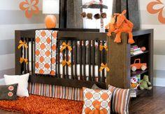 orange and gray nursery idea
