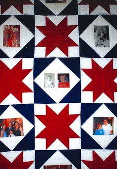 My sister asked me   to make a memory quilt for her best friend's 60th birthday with pictures of   her family on it. After many attempts to find just the right pattern and colors, she chose Stars   of Hope from May/June 2008. I modified the design   so I could include a place for the pictures. It measures 45'x77'   which is a great size for a wallhanging or a lap quilt. Shorty after I   started, my sister's friend was diagnosed wth cancer, which made the quilt   all the more special. I named…
