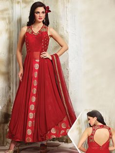 Shop Red silk alluring anarkali suit online from G3fashion India. Brand - G3, Product code - G3-WSS20659, Price - 11895, Color - Red, Fabric - Silk,
