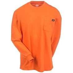 Dickies Shirts: Men's WL450 OR Orange Long Sleeve Pocket Tee Shirt #CarharttClothing #DickiesWorkwear #WolverineBoots #TimberlandProBoots #WolverineSteelToeBoots #SteelToeShoes #WorkBoots #CarharttJackets #WranglerJeans #CarhartBibOveralls #CarharttPants