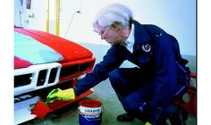 The BMW Art Car project soon became a regular commission that artists the world over, including Roy Lichtenstein, Andy Warhol, Jenny Holzer, and David Hockney, were eager to be a part of.  Seen here, the father of American Pop Art , Warhol working on his version, c.1979.