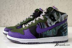 The Joker from Dark Knight Custom Nike Dunks by Diversitile Custom Sneakers, Custom Shoes, Nike Heels, Adidas Shoes, Rainbow Sneakers, Nike Kicks, Nike Joggers, Joker, Site Nike