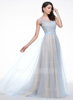 Mama----This may be it....Not sure, yet....but I LOVE THIS! A-Line/Princess Scoop Neck Court Train Tulle Charmeuse Prom Dress With Lace Beading Sequins (018059411) - JJsHouse