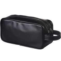 HappyDavid Soft PU Leather Zipped Travel Toiletry Bag Mens Ladies Supply Toiletry Bag Caseblack ** Check this awesome product by going to the link at the image.