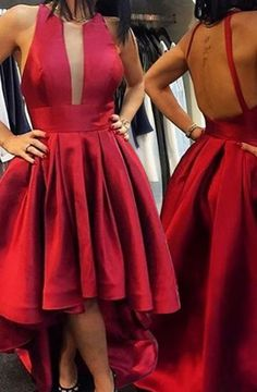 Modern Round Neck Sleeveless Red High Low A-Line Prom Dress with Pleats