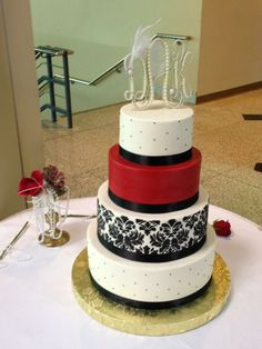 black damask and red buttercream