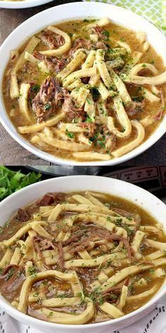 Hearty, and stick-to-your-ribs, this Slow Cooker Beef & Noodles is a cinch to make! #beef #noodles #slowcooker #dinner #comfortfood #crockpotrecipe