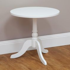 Chic white side tableround butlers traybedsidelamp tablefrench hampton side table round white photo 2 69 aloadofball Gallery
