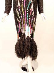 Bob #Mackie Black Sheers Long Sleeve Beaded Gown, Feather Hem.