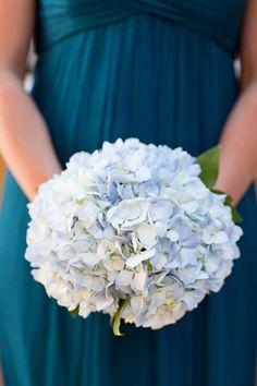 Blue hydrangea bridesmaid bouquets.