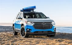 Download wallpapers Chevrolet Traverse, 2017, SUP Concept, new SUV, American cars, car on the beach, Chevrolet