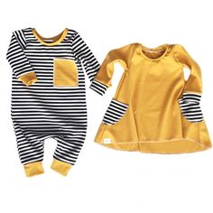 Brand New Infant Toddler Newborn Kids  Twin Baby Boy Girl Matching Clothes Jumpsuit Bodysuit Dress Long Sleeve Outfit Striped Set