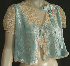 Pretty 1930s Cut Silk Velvet Lace Bed Jacket w/Rosettes and Ribbon | eBay