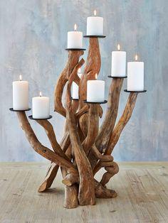 Large Driftwood Candelabra #nordic #decor #home #scandi #interior #wood #candelabra #candles