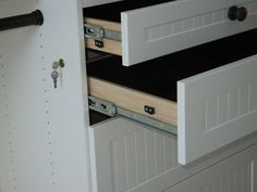 Jewelry drawer lock detail. Drawes have bead board style panels.