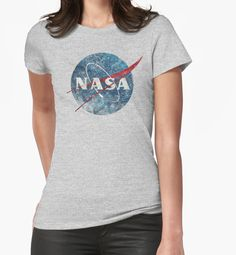 """NASA Space Agency Ultra-Vintage"" Womens Fitted T-Shirts by Lidra 