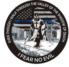 I Fear No Evil Thin Blue Line Flag Reflective Decal