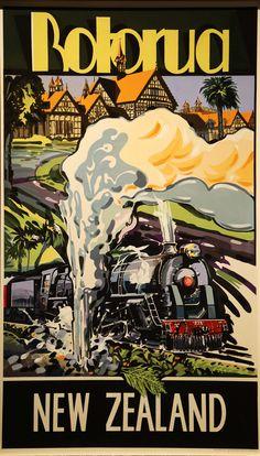Rotorua New Zealand vintage travel poster von stickart-marek New Zealand Adventure, New Zealand Travel, Michel De Montaigne, Rotorua New Zealand, Posters Australia, Nz History, Railway Posters, Trains, Kiwiana