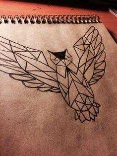 Drawing owl geometric