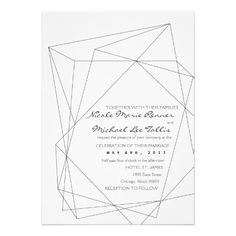 Simple black and white geometric wedding invitations look chic and modern - perfect for a futuristic sci-fi themed wedding.