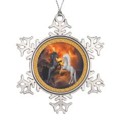 Horse fighting in a lighting storm snowflake pewter christmas ornament - paper gifts presents gift idea customize