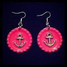 Hey, I found this really awesome Etsy listing at https://www.etsy.com/listing/152029814/pink-bottle-cap-earrings-with-anchors