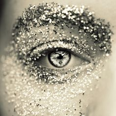 #black #white #silver #eye #makeup #glitter