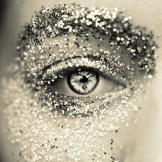 #black #white #silver #eye #makeup #glitter