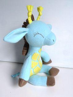Kids - Baby & Toddler - Stuffed Toy - Rag Doll - Giraffe - Light Turquoise Blue - Lemon - Yellow