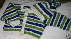 Items similar to Strippy Sweater and Hat Set on Etsy Knit Baby Sweaters, Sweater Set, Baby Knitting, Baby Shower Gifts, Monogram, Stitch, Children, My Style, Hats