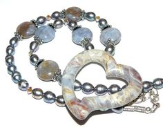 Beaded Necklace Jasper Heart Shape Pendant by koolcatcollectibles