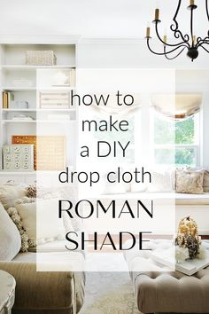 How to Make a Drop Cloth Roman Shades Looking for a unique way to cover your windows? These DIY drop cloth roman shades are easy and a great way to change up the look of your rooms. Roman Curtains, Drop Cloth Curtains, Diy Curtains, Roman Blinds, Gypsy Curtains, Drop Cloth Projects, Easy Sewing Projects, Sewing Projects For Beginners, Diy Projects