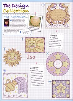 Zodiac Cross Stitch Patterns from The World of Cross Stitching vol 93 Horoscope Signs, Zodiac Signs, Needle And Thread, Stars And Moon, Cross Stitching, Cross Stitch Patterns, Elsa, Birthdays, Embroidery