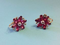 Dainty AMCO 1/20 12K GF Gold Filled Orchid Pink Screwback Earrings by SweetBettysBling on Etsy