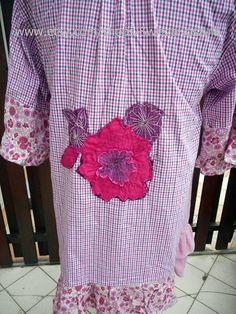 1X Floral Application Bohemian Patchwork Dress Boho Artistic