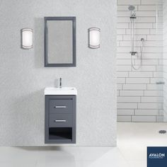 "Studio One 18"" Wall Mounted Vanity in Glossy Pewter 