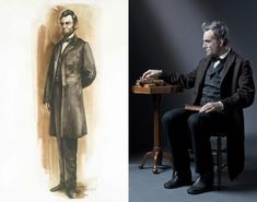 By comparison, Honest Abe's attire was far more muted and understated. While maintaining historical accuracy throughout the ensembles, Johnston veered off course for one element: color. Men's formal coats in 1865 were solely black, however the dark hue doesn't fare well on camera so the designer opted to dress the cast in varying shades of off-black, with Honest Abe often in deep brown.