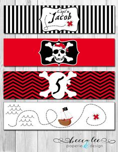 Pirate Theme Water Bottle Labels  DIY  by BeccaLeePaperie on Etsy, $6.00 for instant download
