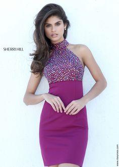 Sherri Hill 50713 Sexy Raspberry Purple Halter Dress - Homecoming Dresses