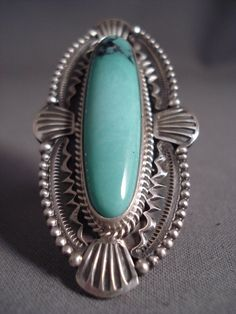 Precise Stamp Works Long Navajo Blue Diamond Turquoise Silver Ring