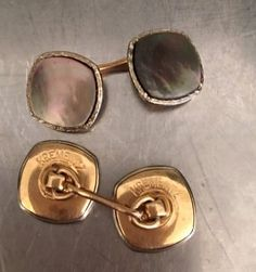 Granite Imitation Gold Tone Metal Vintage Czech Glass Cufflinks Round Cuff Links Bohemian Gift Retro Chic Dusty Pink Art Glass